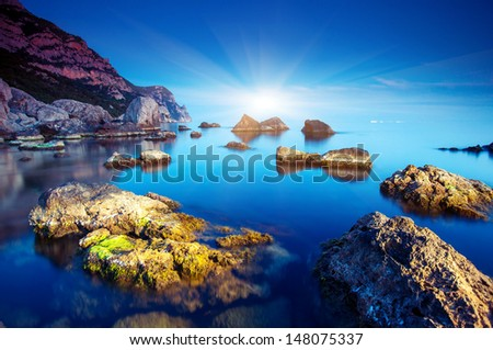 Beautiful seascape and stones. Crimea, Ukraine, Europe. Beauty world. - stock photo