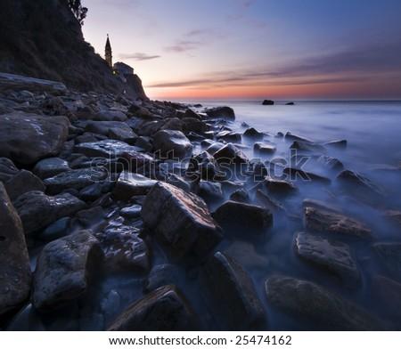 beautiful seascape at dusk in Piran - Slovenia - stock photo