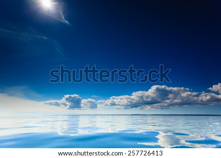 Beautiful seascape blue sea horizon and sky. Tranquil scene. Natural composition of nature. Beauty landscape. - stock photo