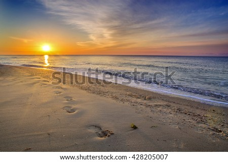 Beautiful seascape, footprints in the sand - stock photo