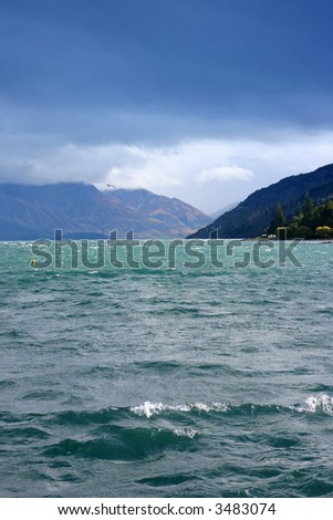 Beautiful seascape from new Zealand queens town. - stock photo