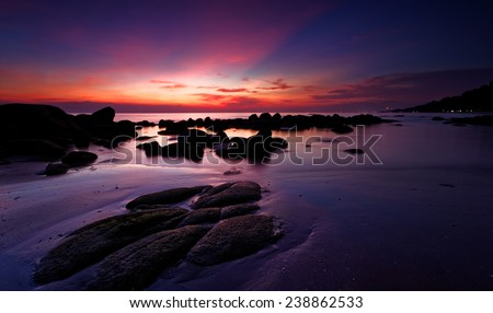Beautiful seascape in the evening time - stock photo