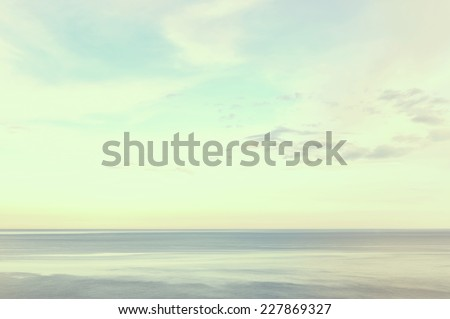 Beautiful seascape morning sea horizon and sky. Tranquil scene in retro style - stock photo