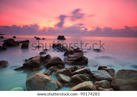 Beautiful seascape. Nature composition of sunset. - stock photo