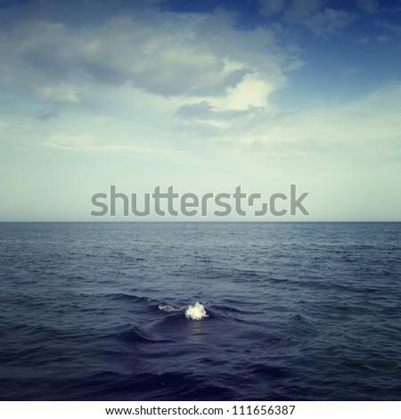 Beautiful seascape of blue sea and sky with clouds, Odessa, Ukraine - stock photo