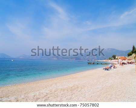 Beautiful seascape of mediterranean waters at Fethiye, Turkey - stock photo