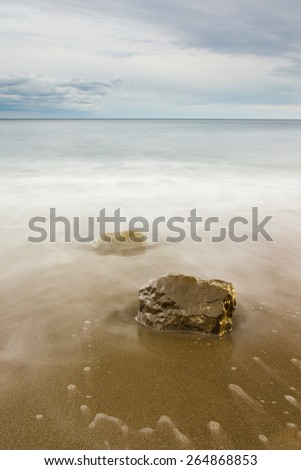 Beautiful seascape, sandy beach, dramatic clouds. Yalta. Crimea. Ukraine. Russia - stock photo