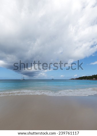beautiful seascape with two ships and clear blue sea water sea white foam - stock photo