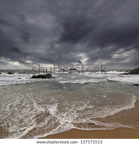 Beautiful seaside of the north of Portugal in an overcast evening - stock photo