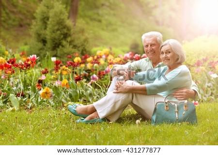 beautiful senior woman outdoor - stock photo