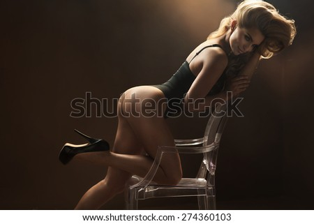 Beautiful sensual blonde lady - stock photo