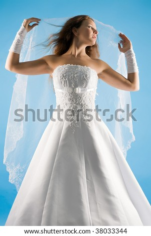 beautiful sensual bride in a wedding dress and with a veil on a blue background - stock photo