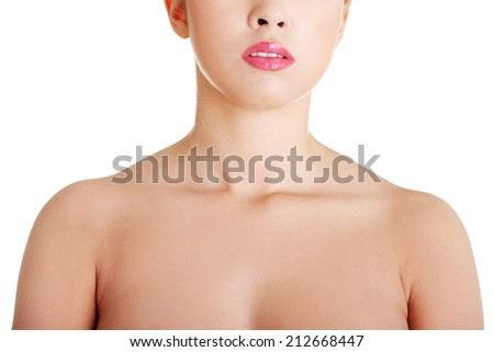 Beautiful sensual young woman neck with soft clean skin, isolated on white - stock photo