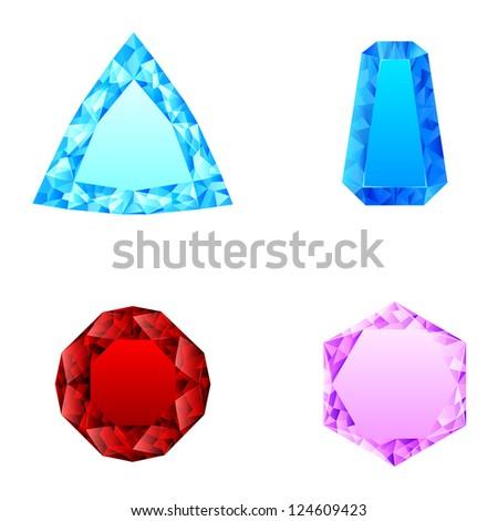 beautiful set of diamonds - stock photo