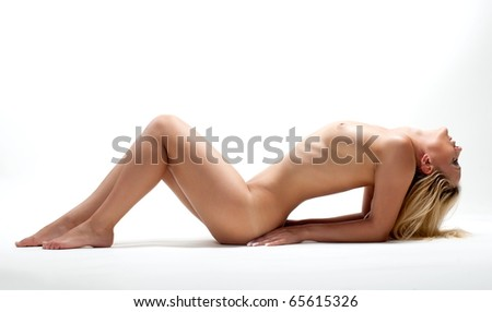 Beautiful sexual girl blonde pose on white background denuded - stock photo