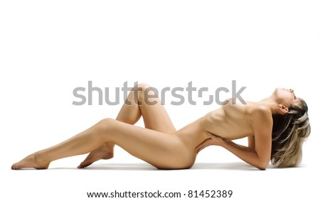 Beautiful sexual girl pose to be denuded on white background is insulated - stock photo