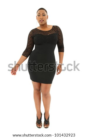 Beautiful Sexy Black Plus Size Model in Black Dress over White Background - stock photo