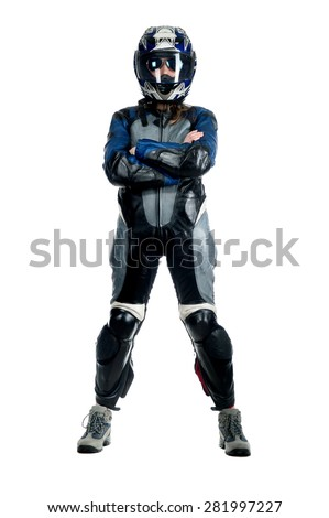Beautiful sexy blonde girl in a motorcycle helmet and overalls, posing on a white background isolated - stock photo