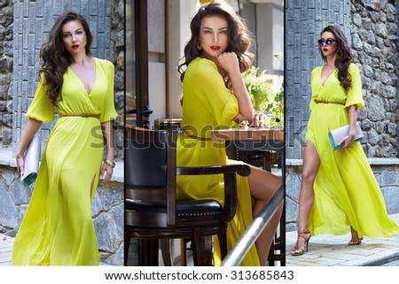 Beautiful sexy brunette girl dark hair evening makeup red lipstick long silk dress perfect shape tanned body, accessories jewelry watches handbag walking down the street, going to a meeting or a party - stock photo