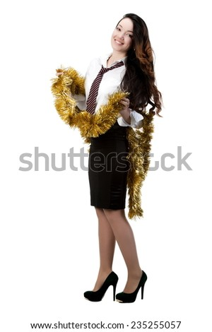 Beautiful sexy brunette girl - office worker isolated on white background, with garland and Christmas gift - stock photo