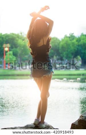 Beautiful sexy female slim slender body - stock photo