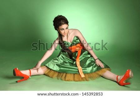beautiful sexy girl in the studio - stock photo
