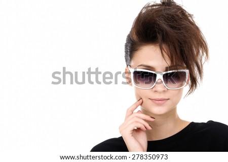 beautiful sexy in sunglass - stock photo