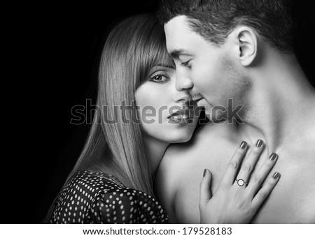Beautiful sexy intimate couple hug each other  - stock photo