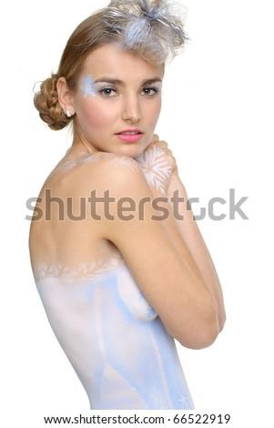 beautiful sexy winter girl posing in studio - stock photo