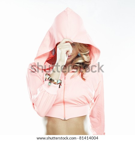 Beautiful sexy woman in a hood on white background - stock photo