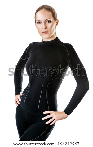 Beautiful sexy woman in black hot sports thermolinen underwear for downhill skiing - stock photo