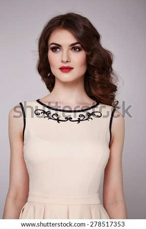 Beautiful sexy young business woman brunette hair evening makeup wearing dress suit top white jeans skirt high heels shoes business clothes for meetings walks summer fall collection perfect body shape - stock photo