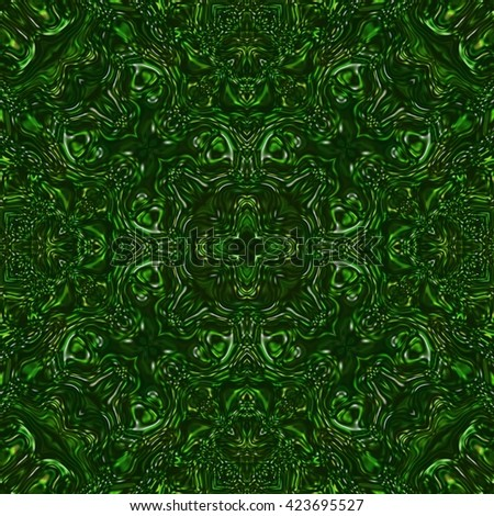 Beautiful shiny green kaleidoscopic ornament, colorful fractal repeating decoration, emerald precious stone seamless texture - stock photo