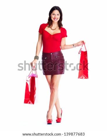 Beautiful shopping woman. Isolated on white background. - stock photo