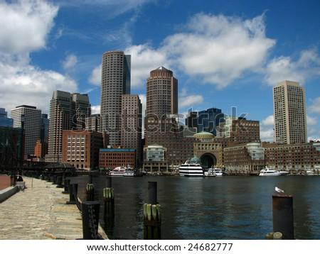 Beautiful shot of the Boston skyline - stock photo