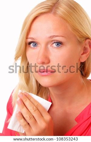 Beautiful sick young woman - stock photo