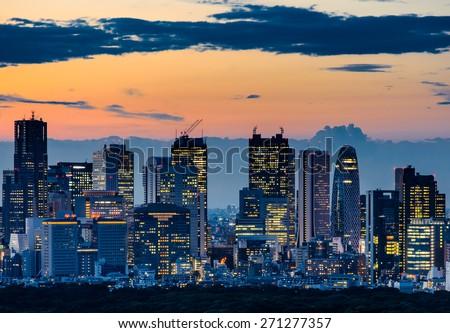 Beautiful Silhouette of Tokyo Skyline at Twilight - stock photo