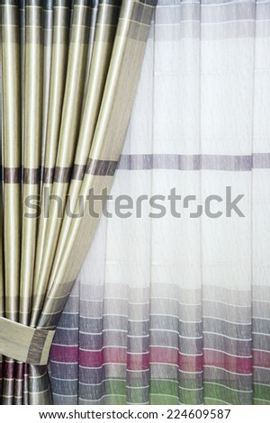 beautiful silk curtain on the window - stock photo
