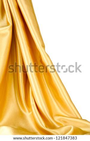beautiful silk drape, isolated on white - stock photo