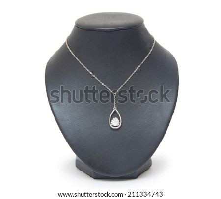 beautiful silver necklace on mannequin isolated on white  - stock photo