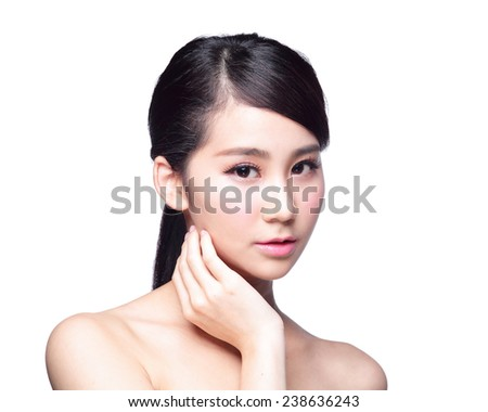 Beautiful Skin care woman Face isolated on white background. asian Beauty - stock photo