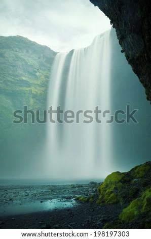Beautiful Skogafoss waterfall in Iceland - stock photo