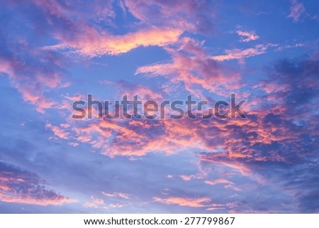 beautiful sky and clouds at sunset - stock photo