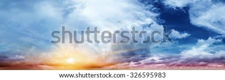 Beautiful sky. Summer art abstract sunrise - stock photo