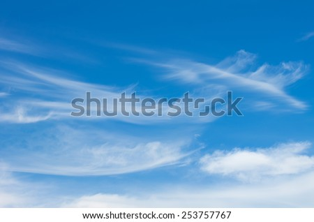 Beautiful sky with clouds feather - stock photo