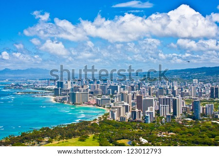 Beautiful Skyline of Oahu,Hawaii - stock photo