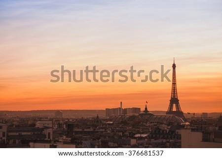 beautiful skyline of Paris, sunset panoramic view of Eiffel Tower  - stock photo