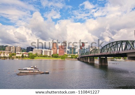 Beautiful skyline of portland - stock photo