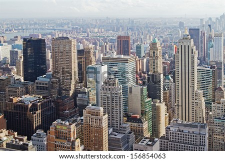 beautiful skyscrapers, abstract urban background - stock photo