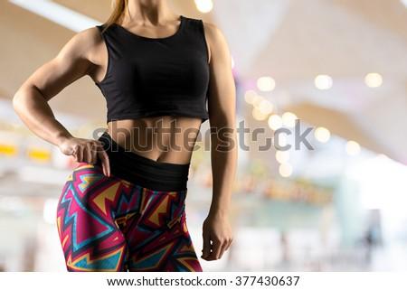Beautiful slim body of woman in lingerie - stock photo